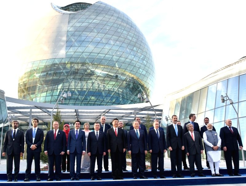 Prime Minister Narendra Modi and other leaders of SCO Family at the inauguration of the Astana EXPO-2017 in Astana, Kazakhstan on June 9, 2017. - Narendra Modi