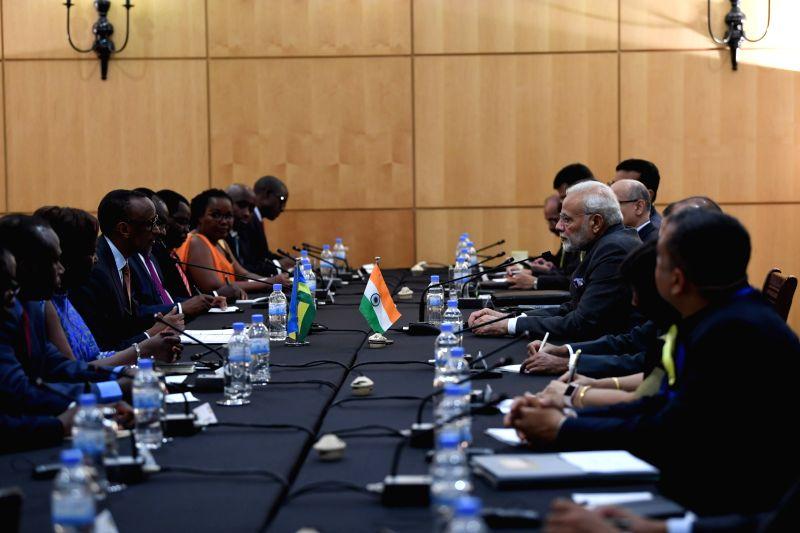 Prime Minister Narendra Modi and Rwanda President Paul Kagame hold delegation level talks, in Rwanda's Kigali on July 23, 2018. - Narendra Modi