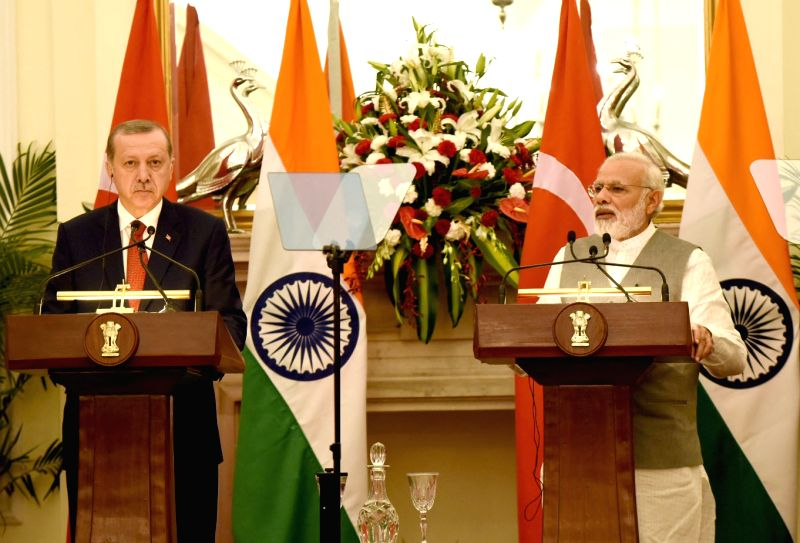 Prime Minister Narendra Modi and Turkey President Recep Tayyip Erdogan during a Joint Press Statements at Hyderabad House in New Delhi on May 1, 2017. - Narendra Modi