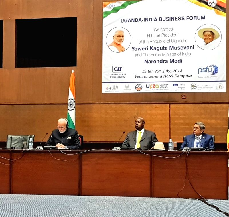 Prime Minister Narendra Modi and Uganda President Yoweri Kaguta Museveni during India-Uganda Business Forum in Kampala, Uganda on July 25, 2018. - Narendra Modi
