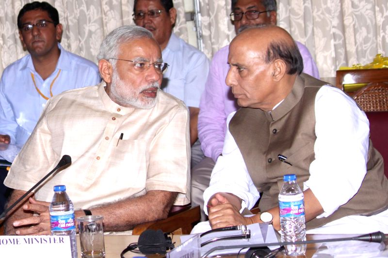 Prime Minister Narendra Modi and Union Home Minister Rajnath Singh during all party meeting at Parliament House, in New Delhi on July 20, 2015. - Narendra Modi and Rajnath Singh