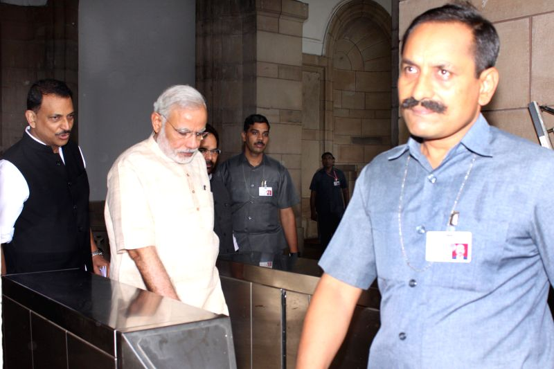 Prime Minister Narendra Modi and Union Minister of State for Skill Development and Entrepreneurship (Independent Charge) and Parliamentary Affairs Rajiv Pratap Rudy at all party meeting at ... - Narendra Modi