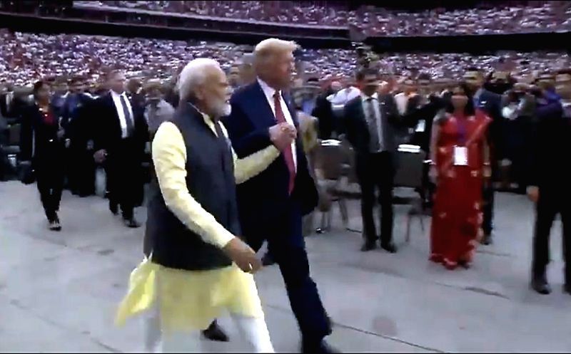 Prime Minister Narendra Modi and US President Donald Trump during the 'Howdy Modi' event at NRG Stadium in Houston, USA, on Sep 22, 2019.