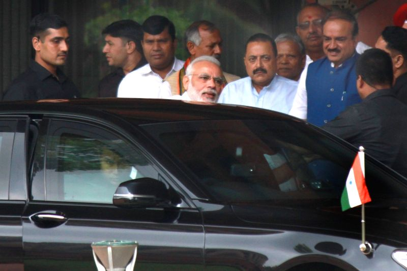 Prime Minister Narendra Modi arrives at Parliament after BJP parliamentary party meeting in New Delhi, on Aug 9, 2016. - Narendra Modi
