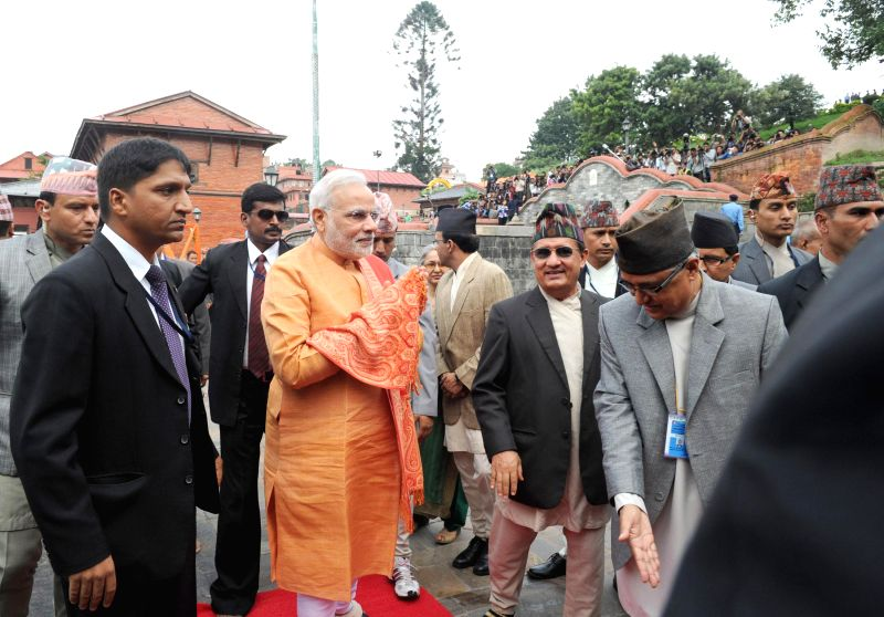 Prime Minister Narendra Modi arrives at the Pashupatinath Temple, in Kathmandu, Nepal on August 04, 2014. - Narendra Modi