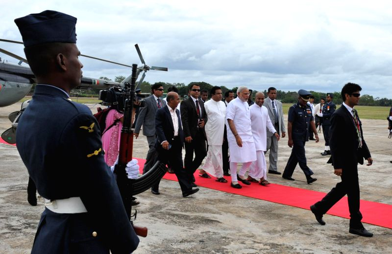 Prime Minister Narendra Modi arrives in Anuradhapura, Sri Lanka on March 14, 2015. - Narendra Modi