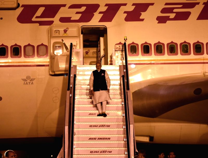 Prime Minister Narendra Modi arrives in Delhi after a his four nation visit to Germany, Spain, Russia and France, on June 4, 2017. - Narendra Modi