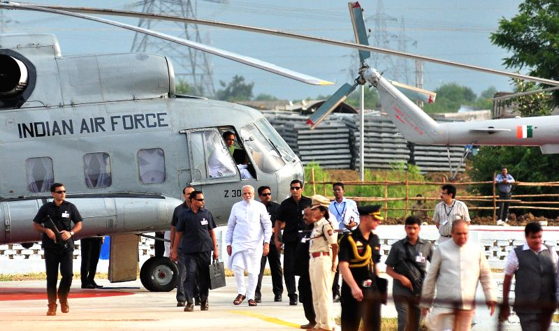 Prime Minister Narendra Modi arrives in Nagpur on Aug 21, 2014. - Narendra Modi