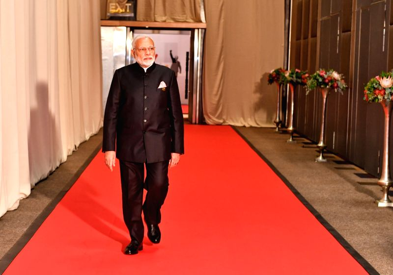 Prime Minister Narendra Modi arrives to attend the 10th BRICS Summit at Sandton International Convention Centre in Johannesburg, South Africa on July 26, 2018. - Narendra Modi