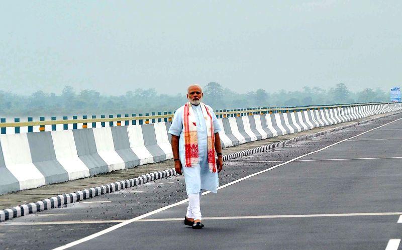 Prime Minister Narendra Modi at Dhola-Sadia Bridge across River Brahmaputra, in Assam on May 26, 2017. - Narendra Modi