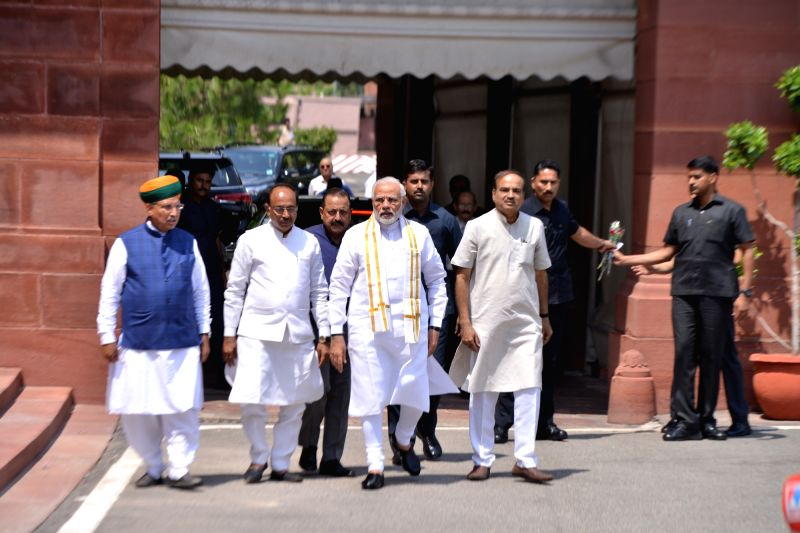 Prime Minister Narendra Modi at Parliament House ahead of the Monsoon Session in New Delhi on July 18, 2018. Union Ministers Ananth Kumar, Dr. Jitendra Singh, Vijay Goel and Arjun Ram ... - Narendra Modi, Ministers Ananth Kumar and Jitendra Singh