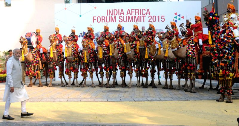 Prime Minister Narendra Modi at the alighting point for leaders to receive the heads of delegations, during the 3rd India Africa Forum Summit 2015, in New Delhi on Oct 29, 2015. - Narendra Modi