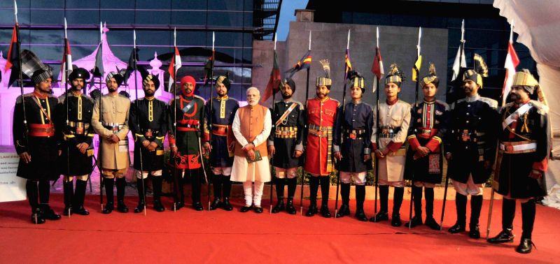 Prime Minister Narendra Modi at the commemorative exhibition organised on the centenary of First World War, at Manekshaw Centre, in New Delhi on March 15, 2015. - Narendra Modi