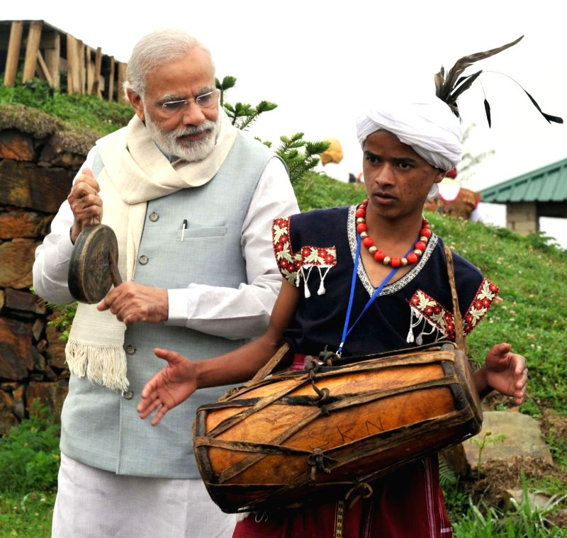 Prime Minister Narendra Modi at the Heritage Village, in Meghalaya on May 28, 2016. - Narendra Modi