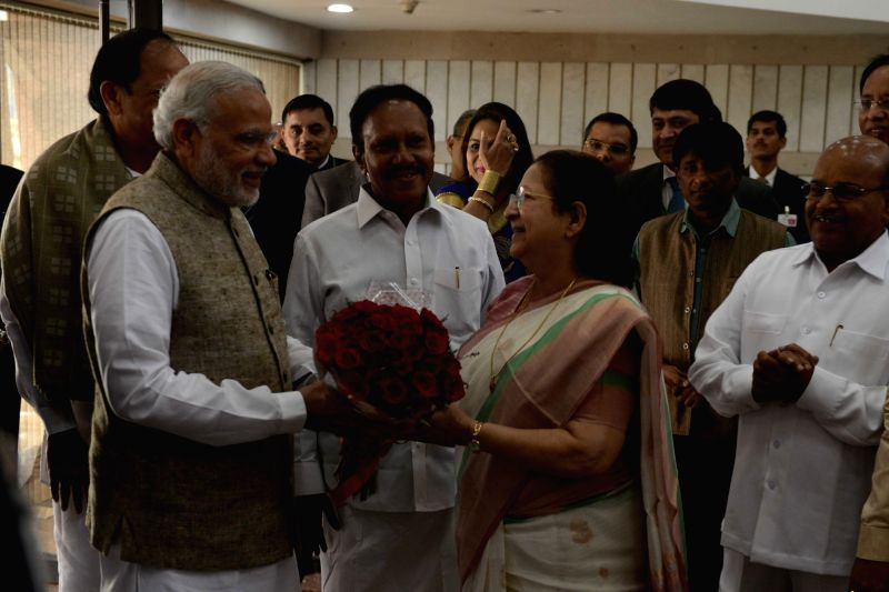 Prime Minister Narendra Modi at the inauguration of an exhibition on making of the Constitution by the Constituent Assembly, at Parliament Library, in New Delhi on Nov 26, 2015. Also seen Lok Sabha ... - Narendra Modi and Sumitra Mahajan