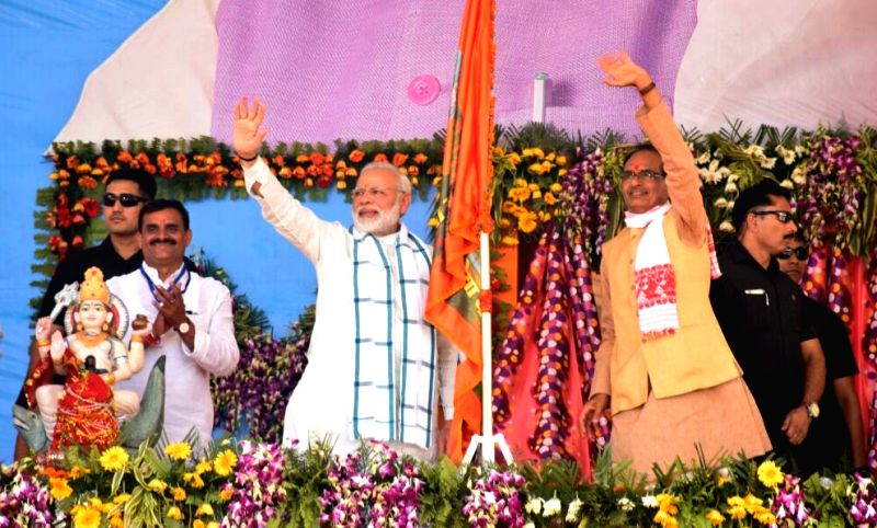 "Prime Minister Narendra Modi at the launch of ""Narmada Seva Yatra"" in Amarkantak of Anuppur district's, Madhya Pradesh on May 15, 2017. - Narendra Modi"