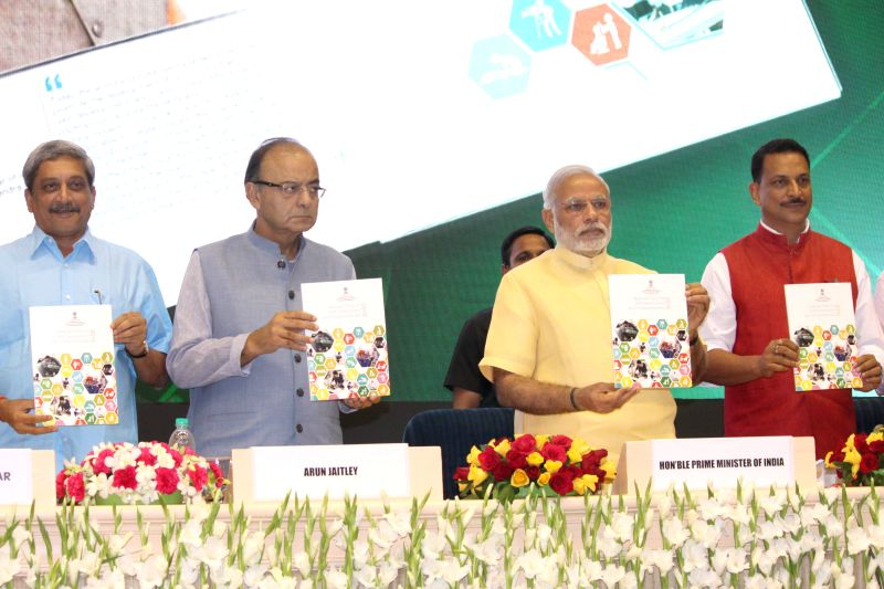 Prime Minister Narendra Modi at the launch of the Skill India Mission, on the occasion of the World Youth Skills Day, in New Delhi on July 15, 2015. Also seen the Union Ministers Arun ... - Narendra Modi, Ministers Arun Jaitley, Rajiv Pratap Rudy and Manohar Parrikar