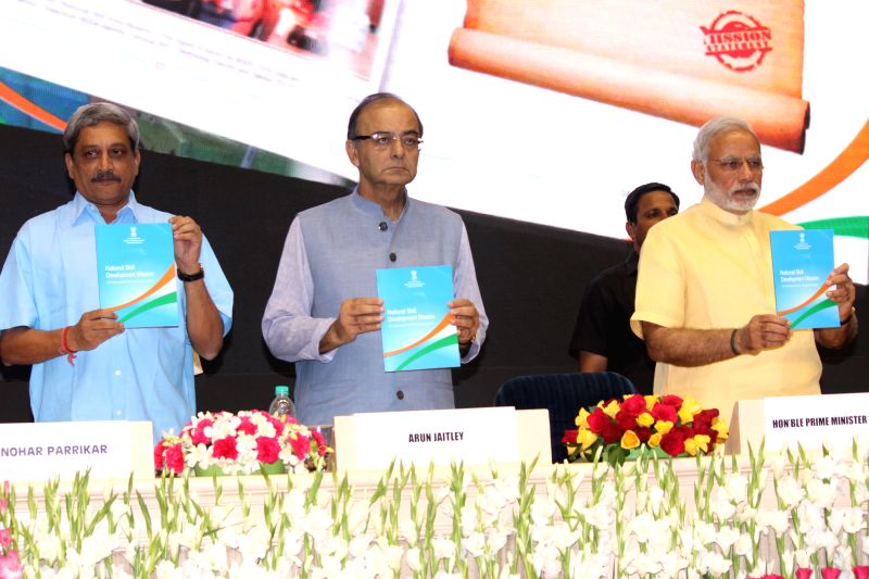 Prime Minister Narendra Modi at the launch of the Skill India Mission, on the occasion of the World Youth Skills Day, in New Delhi on July 15, 2015. Also seen the Union Ministers Arun ... - Narendra Modi, Ministers Arun Jaitley and Manohar Parrikar