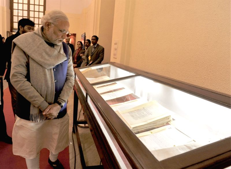 Prime Minister Narendra Modi at the National Archives during the launch of the digitised files related to Netaji, in New Delhi on Jan 23, 2016. - Narendra Modi