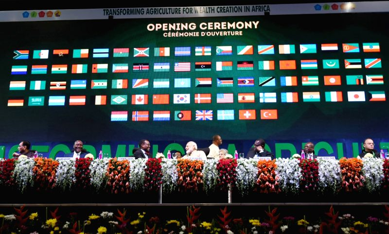 Prime Minister Narendra Modi at the opening ceremony of the Annual Meeting of the African Development Bank, in Gandhinagar, Gujarat on May 23, 2017. The Union Minister for Finance, ... - Narendra Modi and Arun Jaitley
