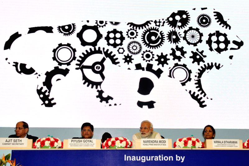 Prime Minister Narendra Modi at the `Re-Invest 2015: India's thrust on Renewable Energy` - an effort to ensure universal energy access for our poor, in New Delhi on Feb 15, 2015. Also seen the ... - Narendra Modi and Secretary Ajit Seth