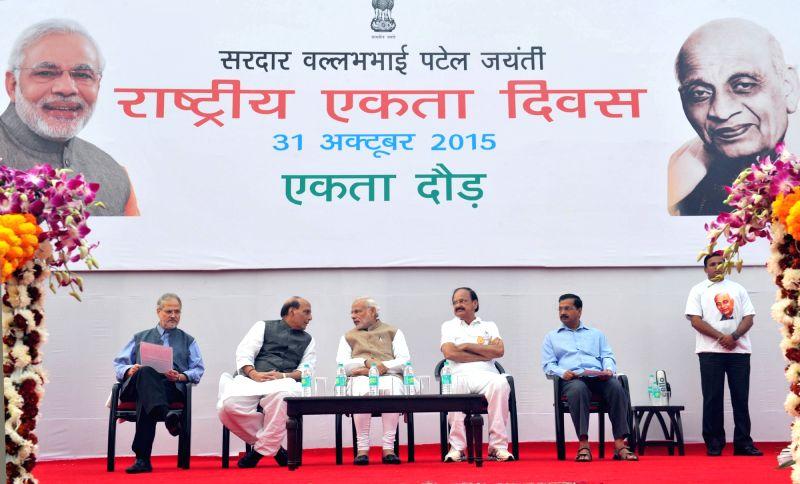 Prime Minister Narendra Modi at the Run for Unity event, organised on Rashtriya Ekta Diwas, at Rajpath, in New Delhi on October 31, 2015. The Lt. Governor of Delhi, Najeeb Jung, the Union ... - Narendra Modi, M. Venkaiah Naidu, Shri Rajnath Singh and Arvind Kejriwal
