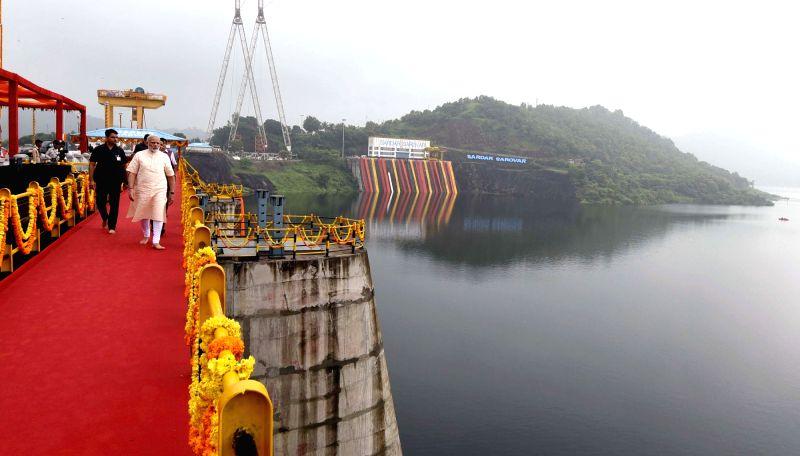 Prime Minister Narendra Modi at the Sardar Sarovar Dam in Gujarat on Sept 17, 2017. - Narendra Modi