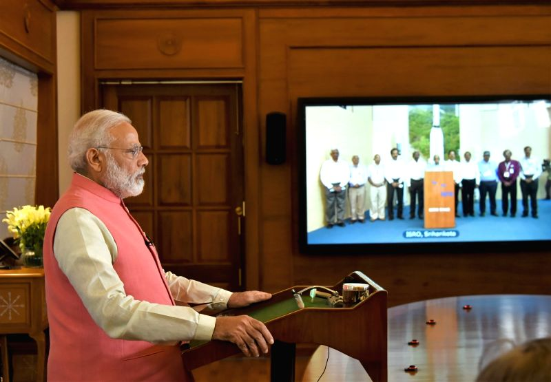 Prime Minister Narendra Modi at the Video Conference with Heads of Government from South Asian Nations, to mark the launch of the South Asia Satellite, in New Delhi on May 5, 2017. - Narendra Modi