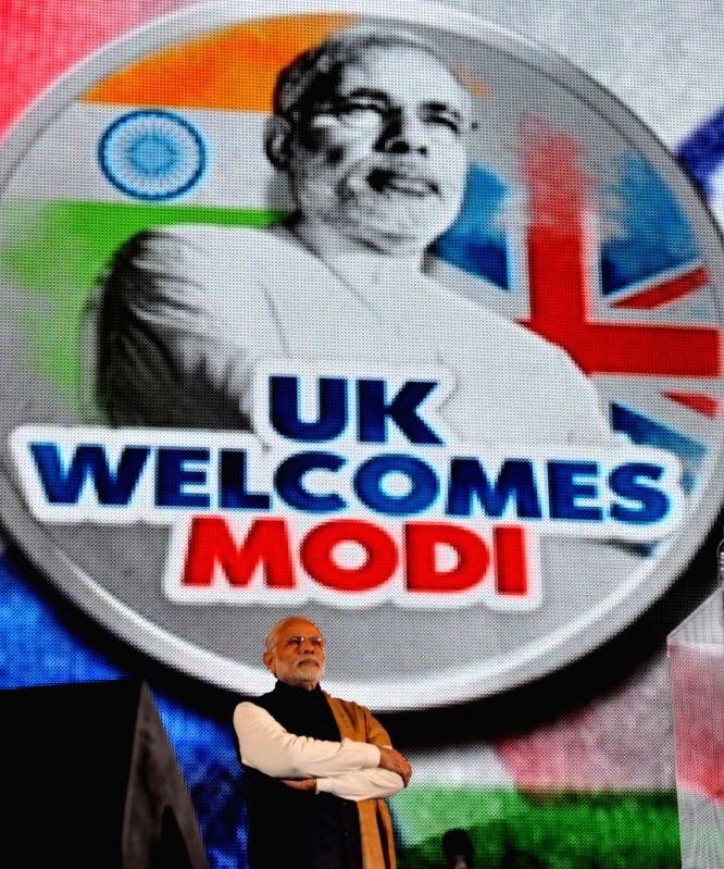 Prime Minister Narendra Modi at Wembley Stadium, in London on Nov 13, 2015. - Narendra Modi