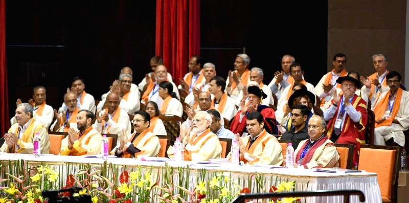 Prime Minister Narendra Modi attend the 56th Annual Convocation of the Indian Institute of Technology, Bombay, in Mumbai on Aug 11, 2018. The Governor of Maharashtra C. Vidyasagar Rao, the Union ... - Narendra Modi and C. Vidyasagar Rao