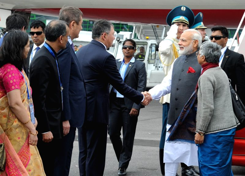 Prime Minister Narendra Modi being received on his arrival in Astana, Kazakhstan on June 8, 2017. - Narendra Modi