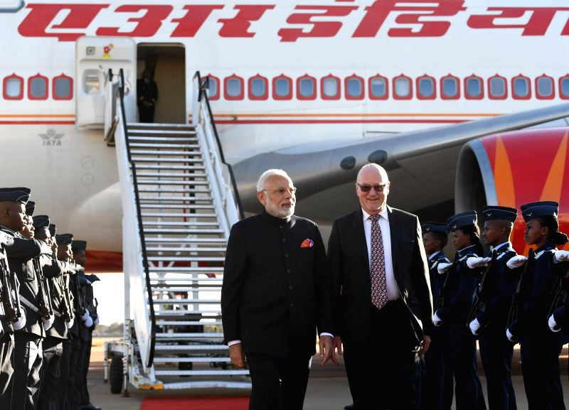 Prime Minister Narendra Modi being received on his arrival at Air Force Base Waterkloof to attend the BRICS Summit in Pretoria, South Africa on July 25, 2018. - Narendra Modi