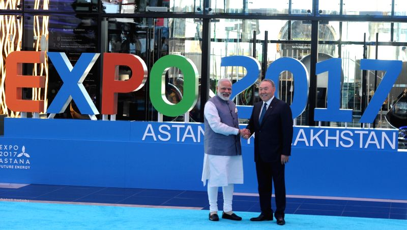 Prime Minister Narendra Modi being welcomed by Kazakhstan President Nursultan Nazarbayev at the inauguration of the Astana EXPO-2017 in Astana, Kazakhstan on June 9, 2017. - Narendra Modi