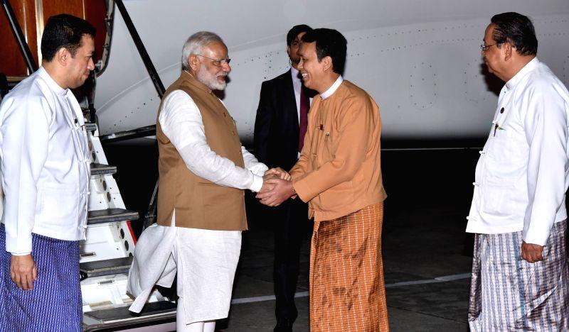 Prime Minister Narendra Modi being welcomed on his arrival at Yangon, Myanmar on Sept 6, 2017. - Narendra Modi