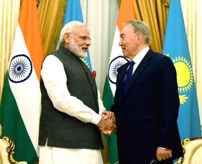Prime Minister Narendra Modi calls on Kazakhstan's President Nursultan Nazarbayev in Astana, Kazakhstan on June 8, 2017. - Narendra Modi
