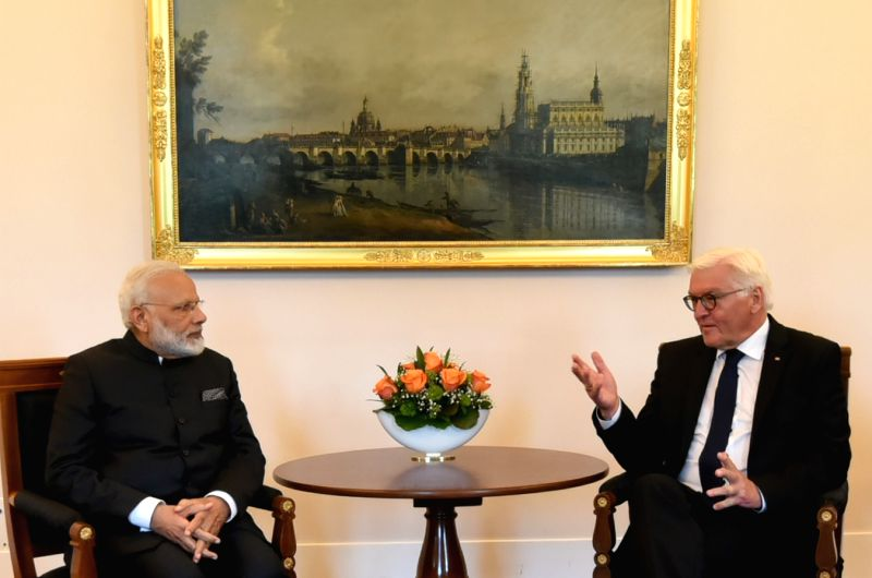 Prime Minister Narendra Modi calls on President of Germany, Mr. Frank-Walter Steinmeier, at Castle Bellevue, in Berlin, Germany on May 30, 2017. - Narendra Modi