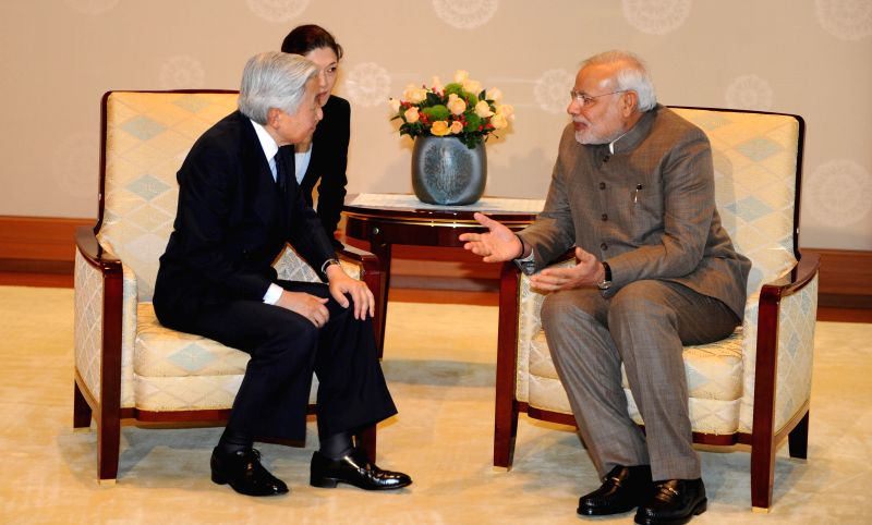 Prime Minister Narendra Modi calls on the Emperor of Japan His Majesty Akihito in Tokyo, Japan on September 02, 2014. - Narendra Modi