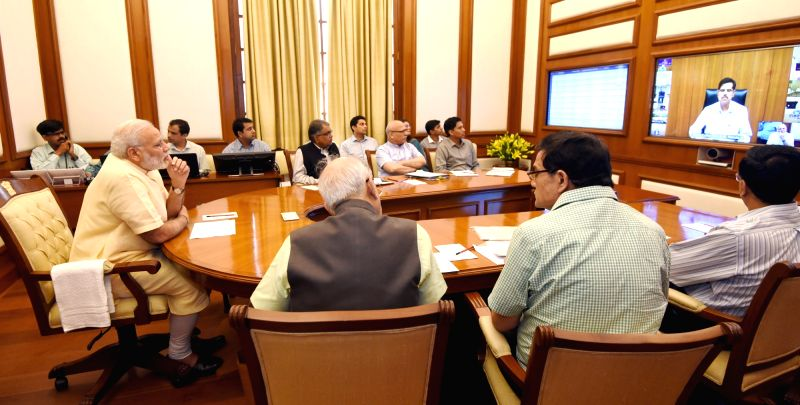 Prime Minister Narendra Modi chairs nineteenth interaction through PRAGATI - the ICT-based, multi-modal platform for Pro-Active Governance and Timely Implementation, in New Delhi on May ... - Narendra Modi