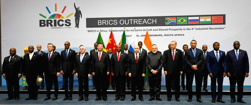 Prime Minister Narendra Modi, Chinese President Xi Jinping, South African President Cyril Ramaphosa, Russian President Vladimir Putin and Brazilian President Michel Temer with other ... - Narendra Modi
