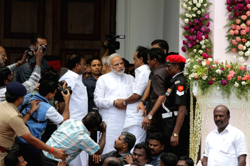 Prime Minister Narendra Modi comforts M.K. Stalin as he pays last respect to DMK patriarch M. Karunanidhi at Rajaji Hall in Chennai on Aug 8, 2018. - Narendra Modi