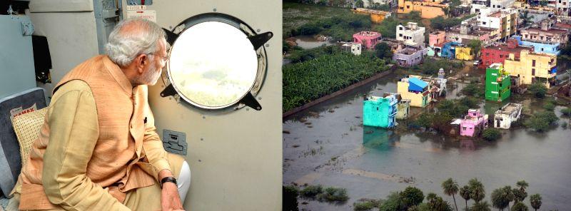 Prime Minister Narendra Modi conducts aerial survey of the rain hit area in Chennai on Dec 3, 2015. - Narendra Modi