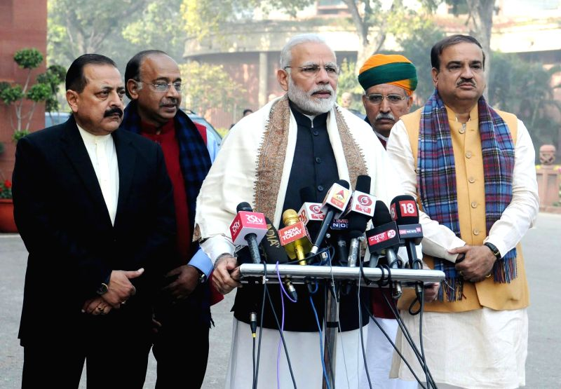 Prime Minister Narendra Modi delivers his statement to media ahead of the Budget Session of Parliament, in Parliament House, New Delhi on Jan 29, 2018. The Union Minister for Chemicals ... - Narendra Modi, Ananth Kumar and Jitendra Singh