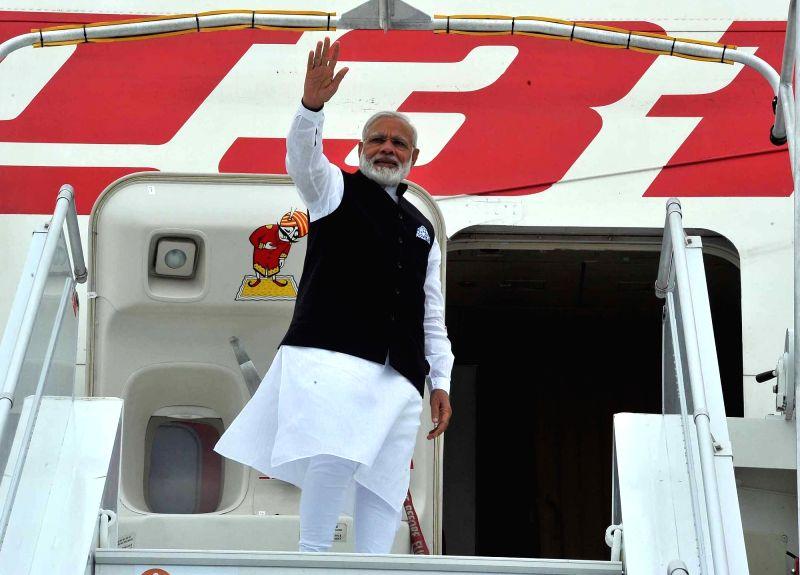 Prime Minister Narendra Modi departs for Delhi from Paris on June 3, 2017. - Narendra Modi