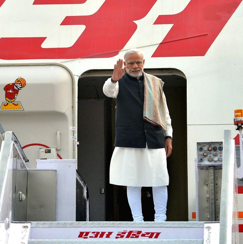 Prime Minister Narendra Modi departs from New Delhi to attend CoP-21 Summit in Paris on Nov 29, 2015. - Narendra Modi