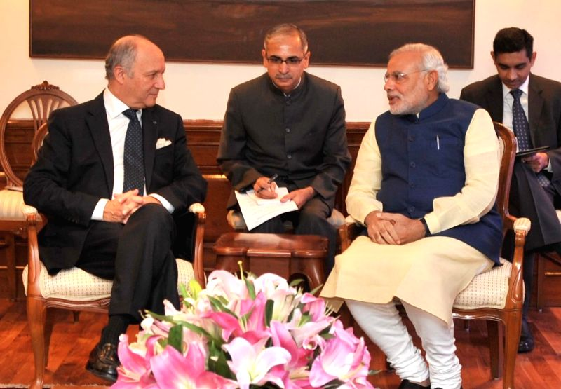 Prime Minister Narendra Modi during a meeting with French Foreign Minister Laurent Fabius in New Delhi on July 1, 2014. - Narendra Modi