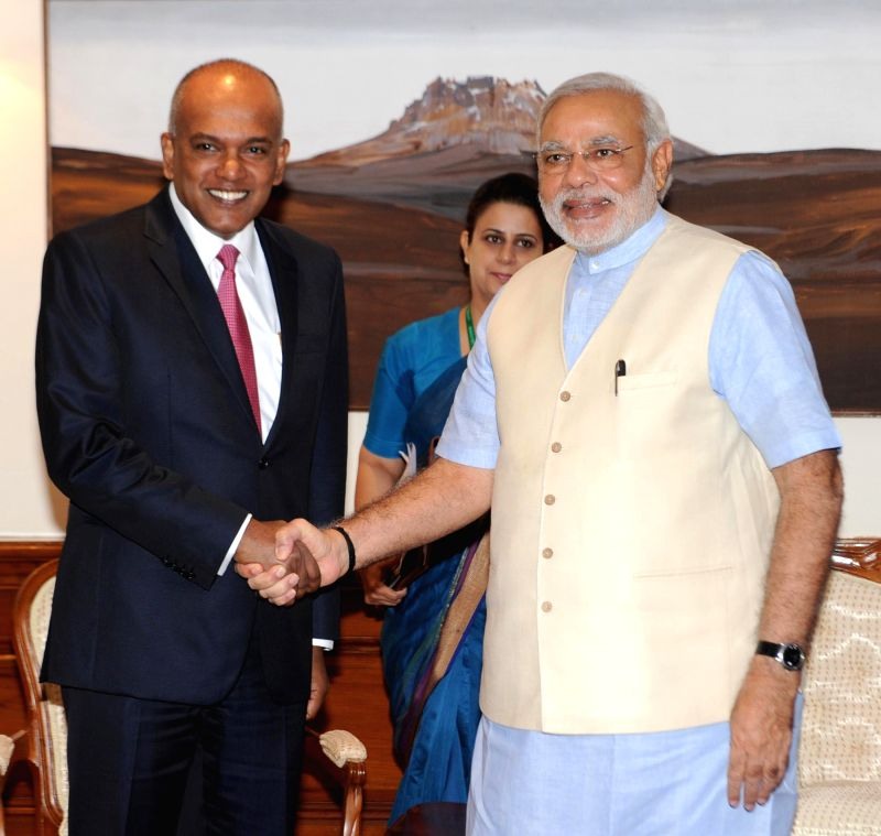 Prime Minister Narendra Modi during a meeting with Singapore's Foreign and Law Minister K Shanmugam in New Delhi on July 2, 2014. - Narendra Modi