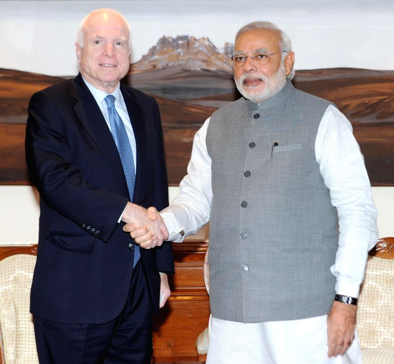 Prime Minister Narendra Modi during a meeting with US Senator John McCain in New Delhi on July 3, 2014.