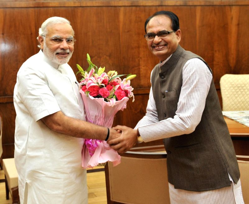 Prime Minister Narendra Modi during a meeting with Madhya Pradesh Chief Minister Shivraj Singh Chouhan in New Delhi on July 7, 2014. - Narendra Modi and Shivraj Singh Chouhan
