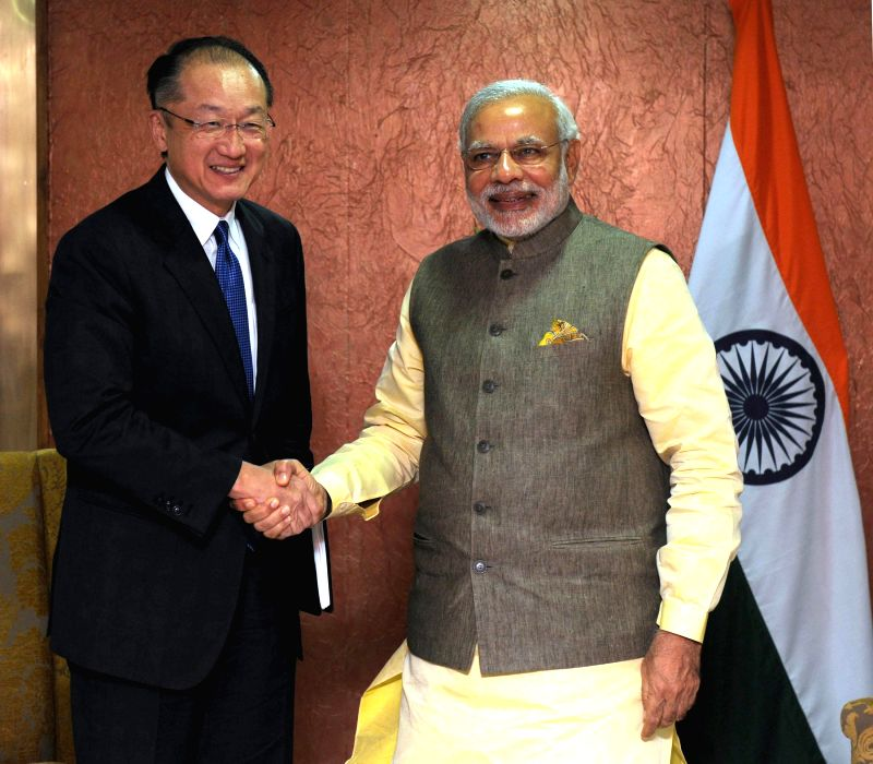 Prime Minister Narendra Modi during a meeting with the President of World Bank, Jim Yong Kim, in Gandhinagar, Gujarat on Jan 11, 2015. - Narendra Modi