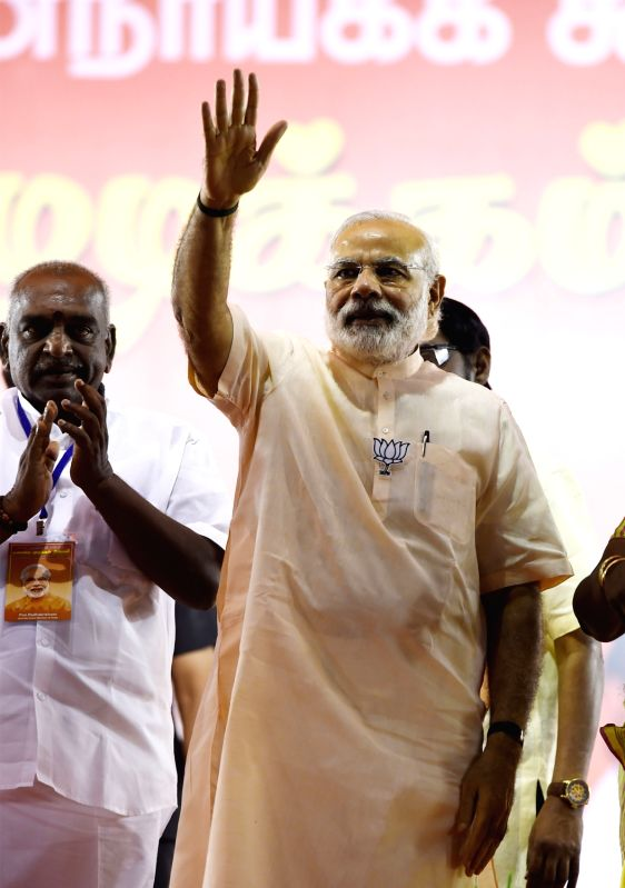 Prime Minister Narendra Modi during an election campaign rally ahead of the Tamil Nadu Assembly elections, in Chennai on May 6, 2016. - Narendra Modi